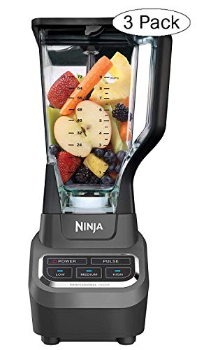 Ninja Professional 72oz Countertop Blender with 1000-Watt Base and Total Crushing Technology for Smoothies, Ice and Frozen Fruit (BL610), Black (Thrее Расk)