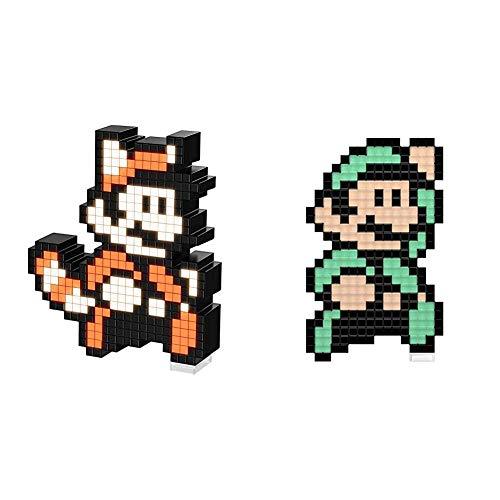 PDP - Pixel Pals Nintendo Raccoon Mario + Lampara de sobremesa Pixel Pals Luigi - Mario Bros (PS4), Multicolor