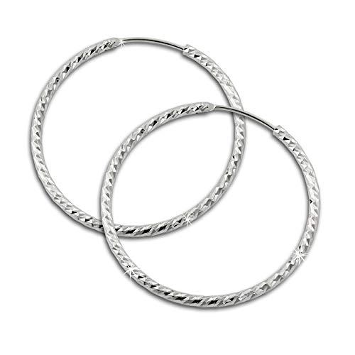 SilberDream Ohrringe 30mm Damen-Schmuck 925er Silber Creolen Beauty SDO0953