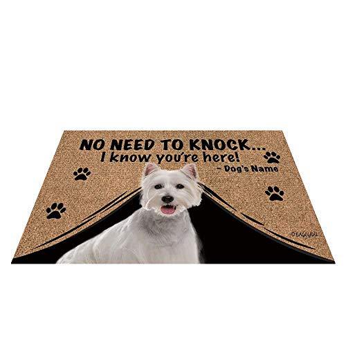 """BAGEYOU Felpudo personalizado con nombre de perro para exteriores con My Love Dog Westie Welcome Floor Mat Not Need to Knock I Know You're Here 23.6"""" x 15.7"""""""