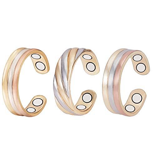 (3 unidades) Anillos de cobre magnéticos saludables para la artritis para las mujeres, regalo para mujeres, mamá, esposa, mejor alivio natural del dolor, tritono ajustable