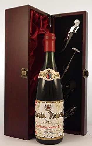 Rioja Cosecha Especial 1974 Bodegas Unidas en una caja de regalo forrada de seda con cuatro accesorios de vino, 1 x 750ml