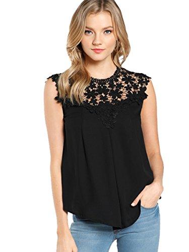 ROMWE Damen Elegant Ärmellos Chiffon Bluse mit Blumen Spitze Shirt Oberteil Bluse Schwarz S