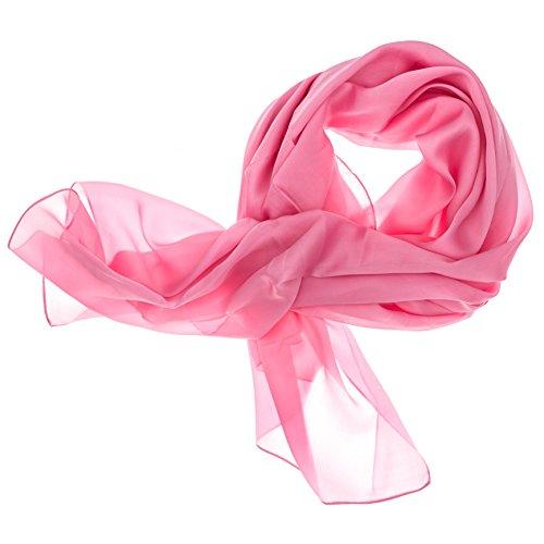 DOLCE ABBRACCIO by RiemTEX ® Schal Damen LADY SUNSHINE Seidentuch Tücher mit hohem Seidenanteil Pashmina Stola Tuch Halstuch in Pink Rosa Kopftuch Damen Seidenschal Elegante Schals (Pink)
