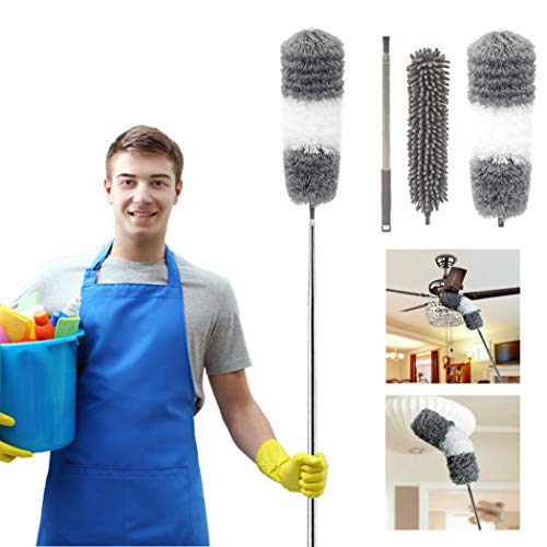 """Telescoping Microfiber Duster,Dsuter with 100"""" Stainless Steel Extension Pole and Protective Cap,Detachable & Washable & Bendable,Cleaner for Ceiling Fan,Lamps,Chandelier,Blind,Wall,Cobweb,Car"""