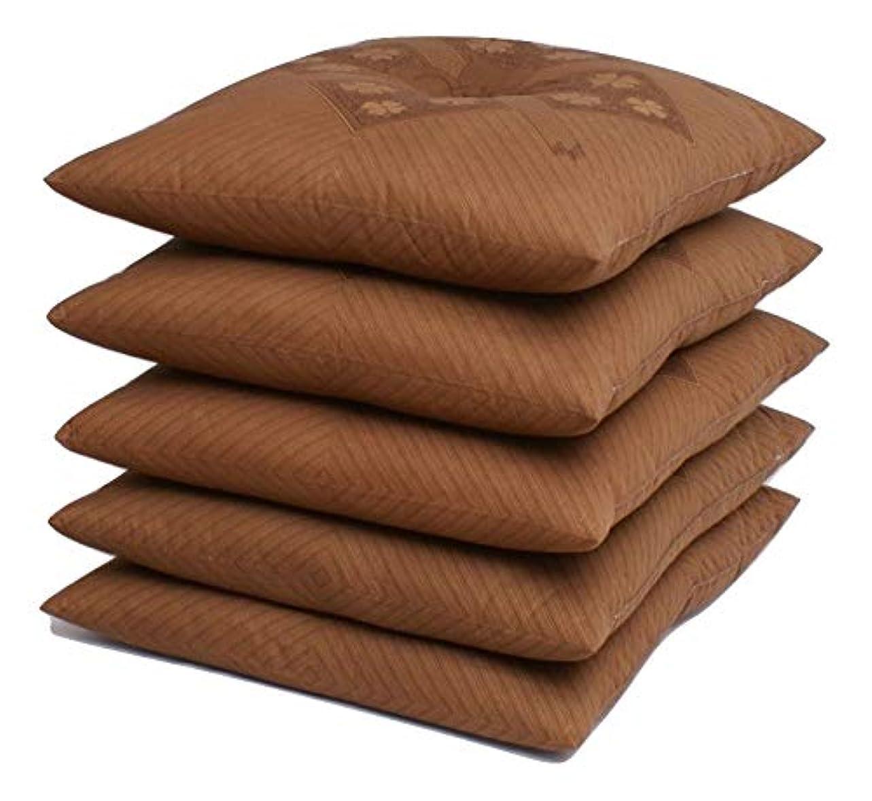 ブレスシャツ頼る国産 銘仙判座布団 5枚セット 「中わた たっぷり1kg」 (ブラウン)