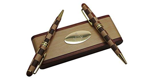 Vrijmetselaar Vrijmetselaar Houten Pen Bureau Set 2 x Balpen Goud en Hout Case en Stand Hand Crafted Luxe Geschenkset
