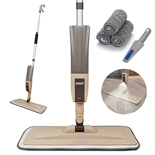 Spray Mop for Floor Cleaning, Floor Mop with a Refillable Spray Bottle and 3 Washable Pads, Flat Mop for Home Kitchen Hardwood Laminate Wood Ceramic Tiles Floor Cleaning (Brown)