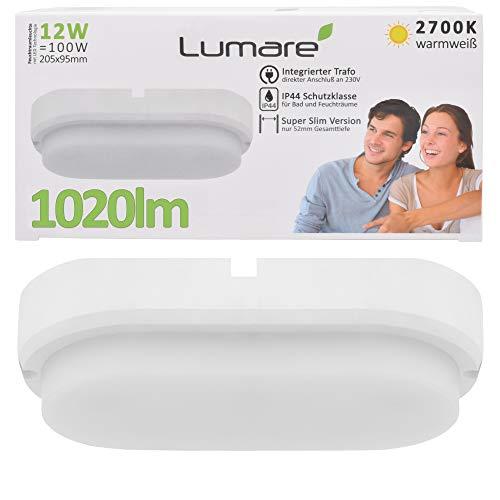 Lumare LED Deckenleuchte 12W 1020lm extra flach IP44 52mm Tiefe 2700K 230V LED Deckenlampe Kinderzimmer Badezimmer Wohnzimmer Keller warmweiss warmweiß