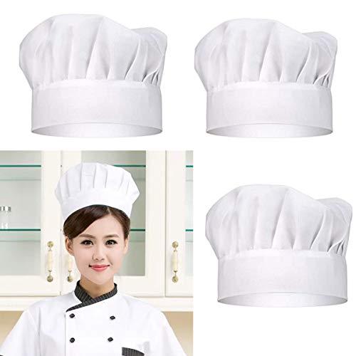 DBAILY Gorro de Cocinero Blanco, 4pcs Gorros Chefs Ajustable...