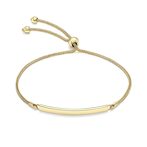 Carissima Gold Women 9 ct (375) Yellow Gold Spiga Chain Adjustable Slider ID Bracelet 24 cm/9.5 Inch