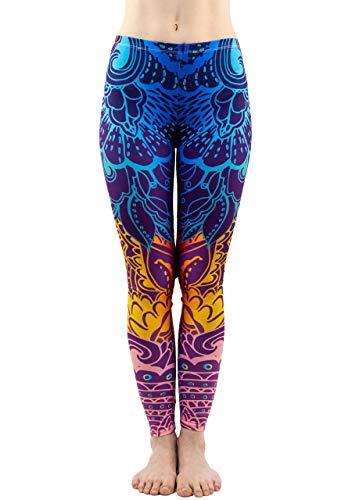 CHIC DIARY Damen bunt Sport Strumpfhose Leggings mit muster Fitness Yoga Joggen Pants Hose Mehrfarbig One size (#51858)