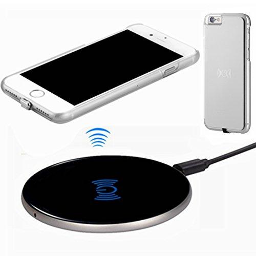 hanende Kit de Cargador Inalámbrico para iPhone 6, [Sleep-Friendly] Qi Cargador Inalámbrico y Receptor Inalámbrico Caso para iPhone 6 (Negro Plata)