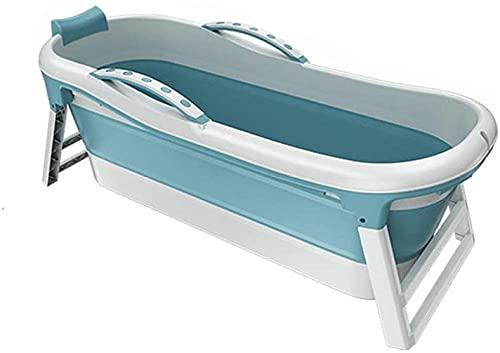 Portátil Adulto Bañera Plegable Bañera Doméstica Niños s Bañera TPE+PP Drenaje Agujero Diseño Adultos y Niños 133X60x52cm Azul-Azul