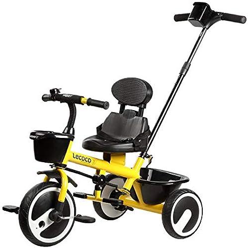 DGDD T200 Kids Trike 7 in 1 mit Pedalsperre und Silent Wheels 3 Wheel Kinder Dreirad Aufsitzfahrrad Folding Baby Dreirad Dreirad Kids Trike Trolley Fit von 1 Jahr bis 6 Jahre,Gelb