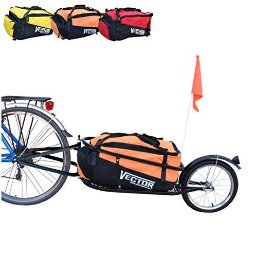 Polironeshop Vector fahrradanhänger lastenanhänger einrad anhänger gepäckanhänger mit Tasche (Orange)