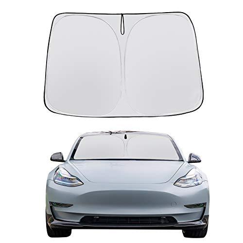 BASENOR Tesla Modello 3 Modello Y Parabrezza Parasole Pieghevole Parasole Protector Parasole Copertura 2020 Aggiornamento