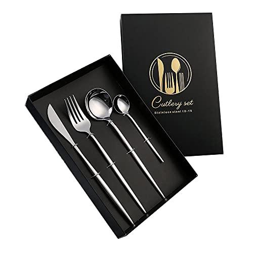 OUDEING Cutlery Set,Conjunto De Cubiertos Blanco De 24 Piezas, Conjunto De Horquilla De Cuchara,Cubiertos, Servicio para 6, para Casa/Fiesta-Plata 24Pcs
