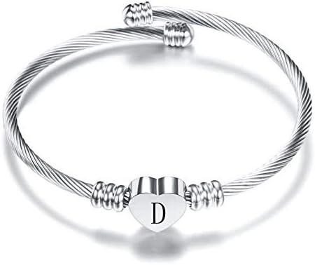 MiniJewelry Initial Cuff Bracelets 26 Alphabet Heart Pendant A Z Letter Silver Cuff Bracelet product image
