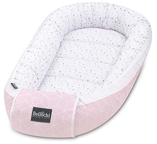 Bellochi Babynest Babynestchen Neugeborene - 100% Baumwolle - ÖKO-TEX zertifiziert - Baby Kuschelnest - 90x60x12cm - Rosa/Weiß