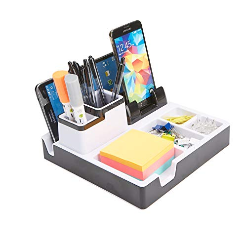 Mind Reader USBORG-BLK Port Supplies Organizer with Charging Station, Pencil, Paper Clip, Desk Accessories Holder, Black USB Charger Stand