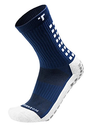 TRUSOX Mid-Calf Crew Cushion Soccer Socks (Pair),Navy Blue,S