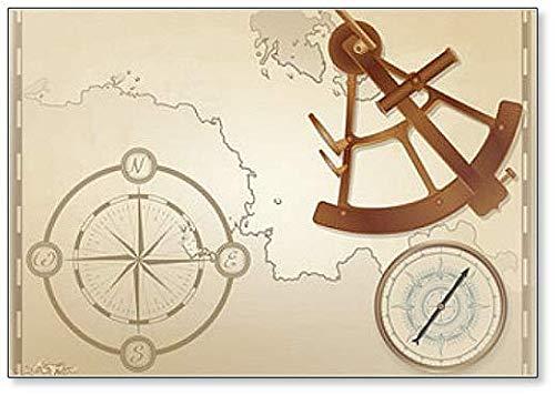 Aimant de réfrigérateur avec boussole vintage et sextant en bronze sur fond de carte de navigation