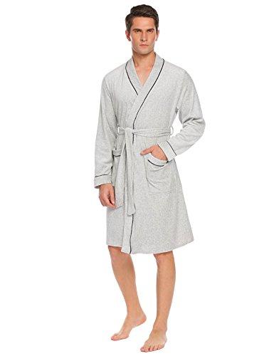 Skione Morgenmantel Herren Bademantel Baumwolle Reisebademantel Langarm Saunamantel Frottee mit 2 Taschen und Gürtel Elegant Kimono Reisemantel Robe für Männer, Grau