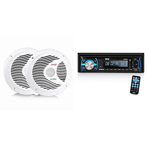 6.5 Inch Dual Marine Speakers - 2 Way Outdoor Audio Stereo Sound System - 1 Pair (White) & Pyle Marine Bluetooth Stereo Radio - 12v Single DIN Style Boat in Dash Radio Receiver System (Black)