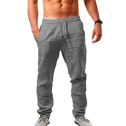 VANVENE Pantalones deportivos de lino para hombre con cintura elástica y pantalones de yoga para entrenamiento y correr, gris, M
