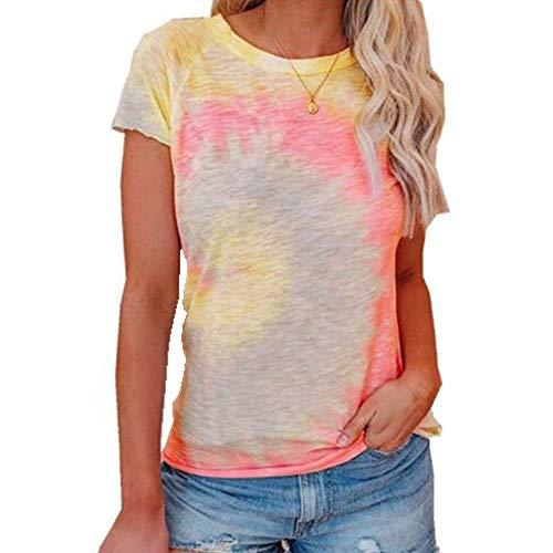 Sommer Damen Rundhals Krawatte Farbstoff Druck Urban Casual Weste T-Shirt