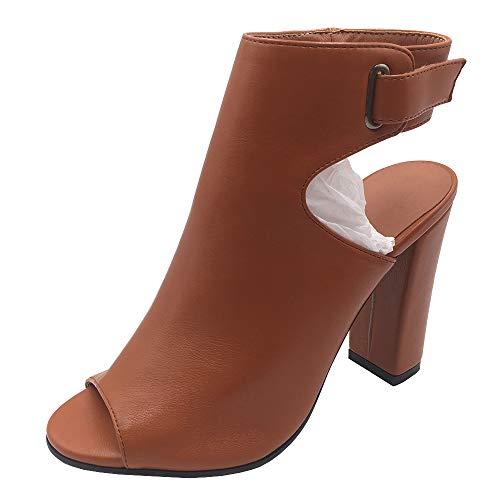 Lydee Moda Mujer Sandalias Tacon Ancho Tacon Alto Peep Toe Verano Botines Zapatos Animal Print Correa De...