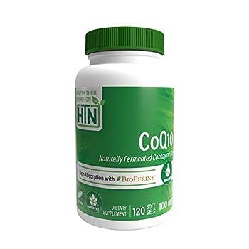 Health Thru Nutrition CoQ10 w/BioPerine 100mg - High Absorption Non-GMO Soy-Free Natural Coenzyme Q-10  120 Softgels