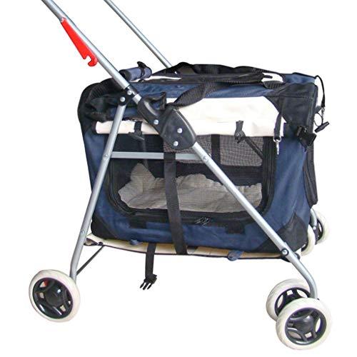Leichte Hund/Katze/Pet Stroller Reisewagen mit Cabrio Compartment/Zipper-Less Entry / 1-Hand Quick Fold/Aluminium-Rahmen for kleine und mittlere Haustiere (Color : Blue)