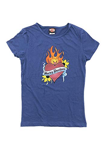 HARLEY-DAVIDSON Original HD Damen T-Shirt für Biker - Heart Flames HD Harley T-Shirt für Biker Ladys - lilablau, Größe:L