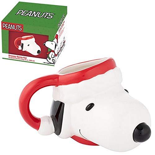 Vandor Snoopy in Santa Hat 14 oz. Sculpted Ceramic Mug #85601