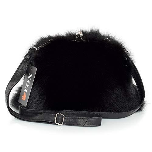 FOX FASHION Damen Umhängetasche mit Bügel aus schwarz Fuchsfell Handtasche Pelztasche Fuchs Fell Pelz Fuchspelz Tasche Echtfell Felltasche Echt