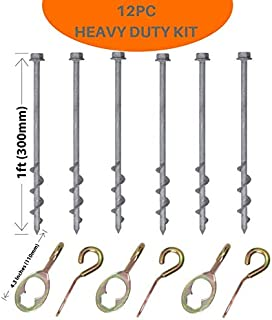 GROUNDGRABBA Screw in Tent Stakes   6X HexHook Pro   6X GG Pro   Heavy Duty Tent Stakes   Strong Durable Ground Anchor   Drill in Stakes