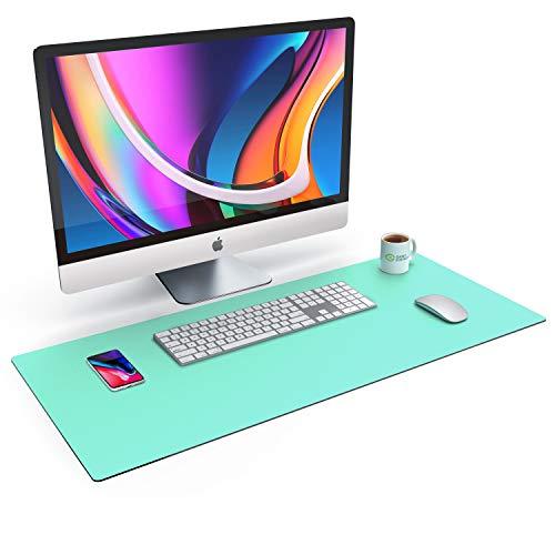 CSL - XXL Alfombrilla para ratón de aspecto de piel - 900x400 - piel sintética - Base de escritorio multifuncional - Mousepad para oficina y hogar - impermeable - verde
