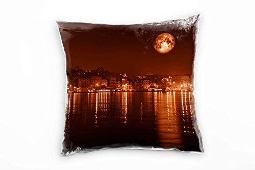 Paul Sinus Art City, Istanbul, nacht, maan, oranje, rood decoratief kussen 40 x 40 cm, voor bank sofa lounge sierkussen - decoratie om je goed te voelen