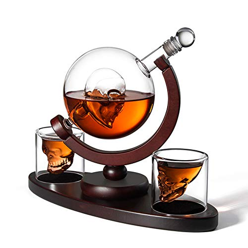 Schedel Whiskey Decanter Set Met 2 Glas Glazen Liquor Pitcher Balloon Wine Decanter Bar Creative Thuis, Met Houten Base, Perfect Present 850 Milliliter