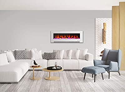 Cambridge CAM60WMEF-2WHT 60 In. Wall-Mount Electric Fireplace in White with Multi-Color Flames and Driftwood Log Display