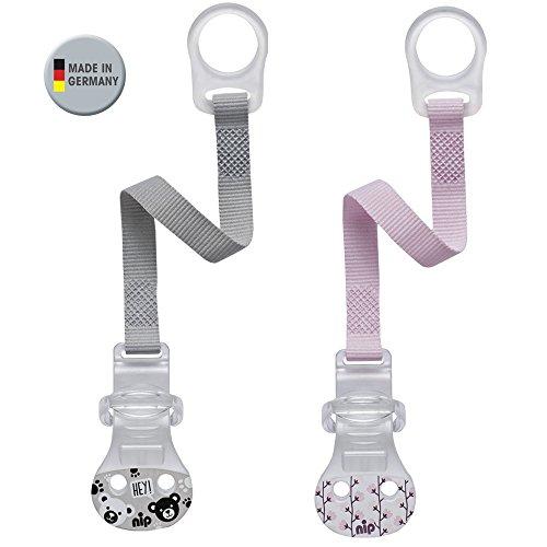 nip Schnullerband mit Ring // 2-er Set Girl // Komfort-Verschluss für alle Schnuller ohne Ring // NEU Befestigungsring aus flexiblem Silikon // made in Germany