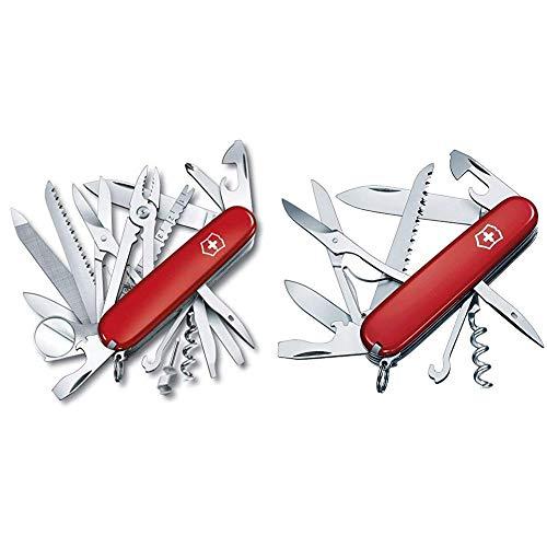 Victorinox Taschenmesser Swiss Champ (33 Funktionen, Kombizange, Stecknadel, Zange, Schere) rot & Taschenmesser Huntsman (15 Funktionen, Schere, Holzsäge, Schraubendreher) rot