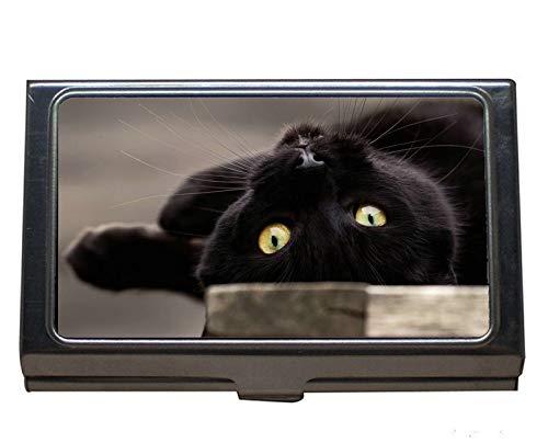 Edelstahl Visitenkartenhalter, Pet Stare Katze Visitenkartenetui für Herren und Damen