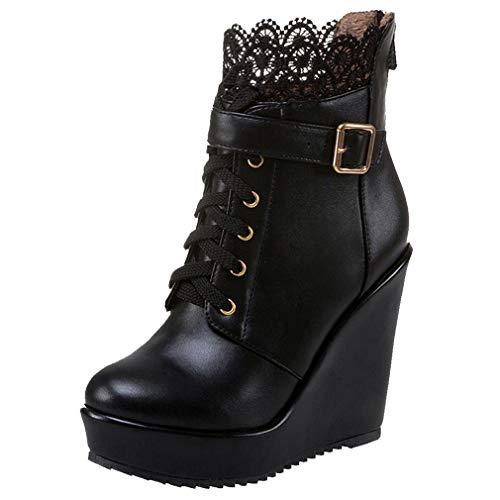 Wedges Stiefeletten mit Keialbsatz High Heels Plateau Ankle Boots mit schnürung und Reißverschluss 12cm Absatz Schuhe(Schwarz,41)