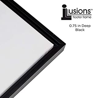 Creative Mark Illusions Solid Wood Floater Frame for 3/4 Inch Canvas 9X12 - Black & Black