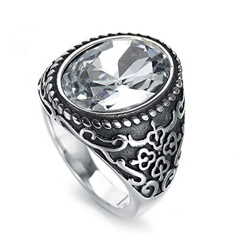 Daesar Stainless Steel Rings for Men Engagment Retro Celtic Knot Totem Engagement Rings Zirconia Silver Ring Size 8