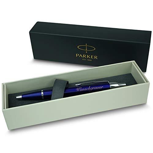 polar-effekt Parker IM Druckkugelschreiber mit Gravur - Blau - Großraummine blauschreibend - inkl. Geschenk-Etui - Deutsche Herstellung - hochwertig und edel - perfekte Geschenkidee