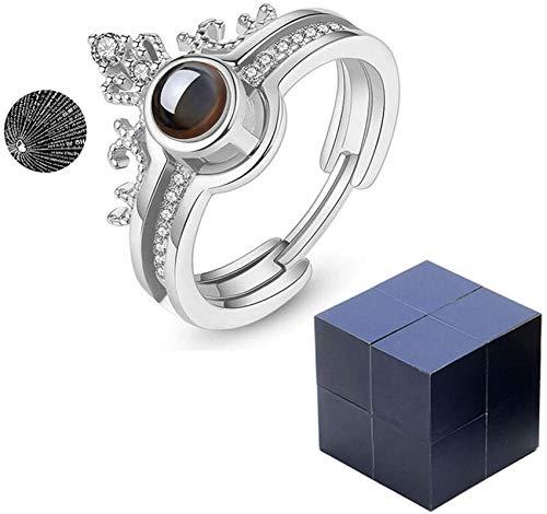 Caja caja de anillo de cubo mágico, caja de regalo giratoria para joyería para el día de San Valentín, propuesta de compromiso, boda, un regalo que significa que te amo Anillo de plata con caja